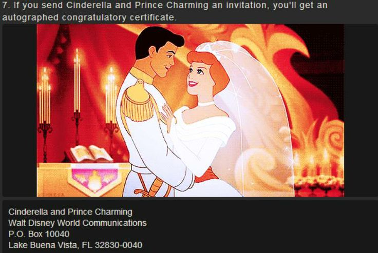 Send a wedding invite to Cinderella and her man and you get a signed congratulatory certificate... Yup, doing it.