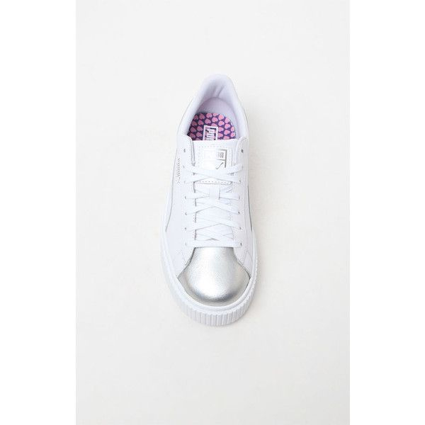 Puma Women's Platform Iridescent Sneakers ❤ liked on Polyvore featuring shoes, sneakers, platform trainers, silver platform shoes, silver shoes, leather upper shoes and iridescent shoes