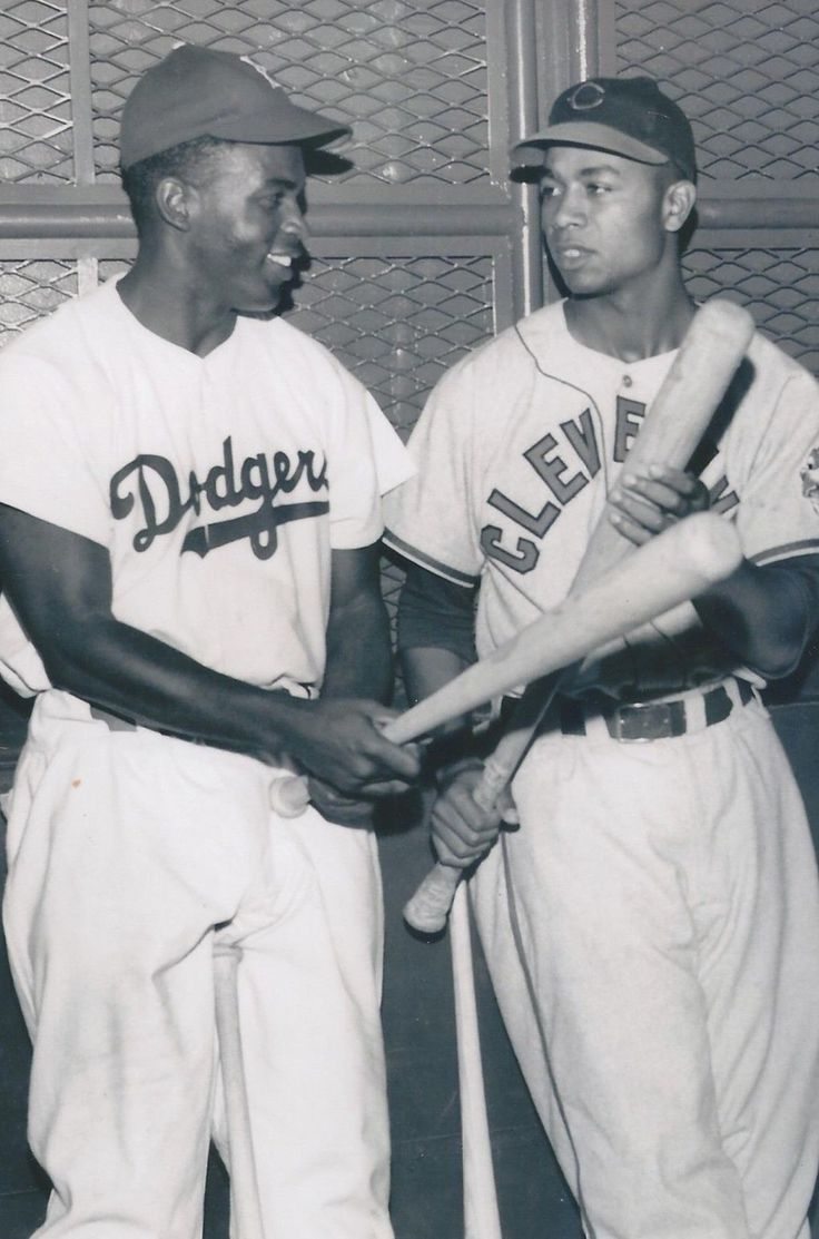 ~~The first two African American Players in baseball~~Natonal League- Brooklyn Dodgers: Jackie Robinson and from the American League- Cleveland Indians: Larry Doby.