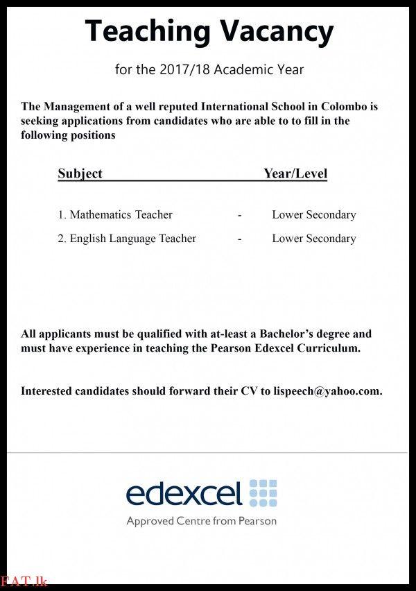 Vacancy English Language And Mathematics Teacher Teaching
