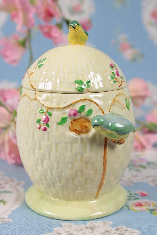 Vintage Home - 1930s Blue Bird and Roses Honey Pot.
