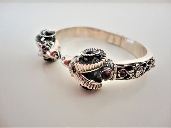 Ram head 925 Sterling Silver Bracelet. Ancient Greek style