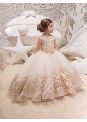 Champagne Lace Tulle Long Flower Dress Little Bridal Gown