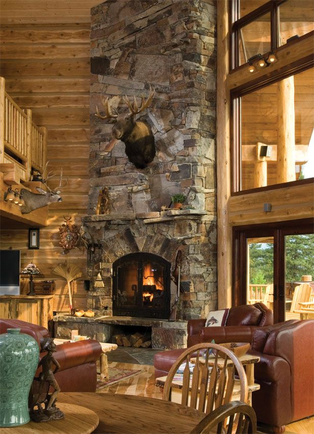 17 best images about log homes on pinterest log cabin for Log home fireplaces