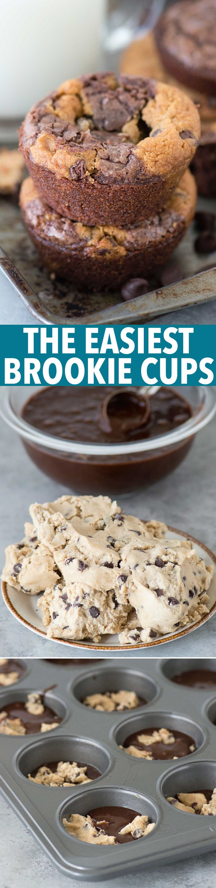 The easiest brookie cups recipe! It's a brownie and a cookie baked in a muffin…