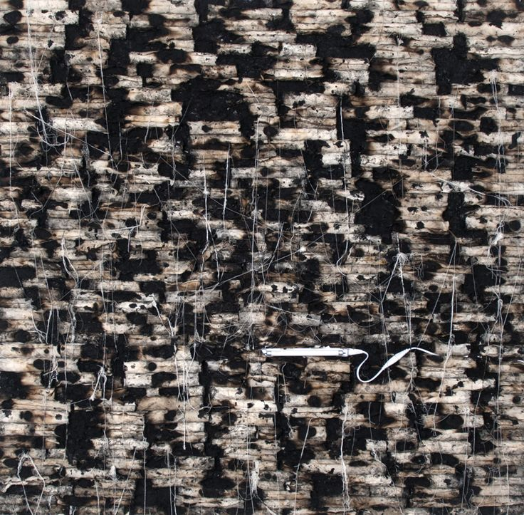 Hanaa Malallah - Illustrated Ruins (crop) 2013 Burnt canvas, ash and fluorescent light on canvas 150 x 150 cm