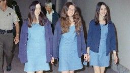 From left, Manson Family members Susan Atkins, Patricia Krenwinkel and Leslie Van Houten, shown walking to court in 1969.  Leslie van houten up for parole.