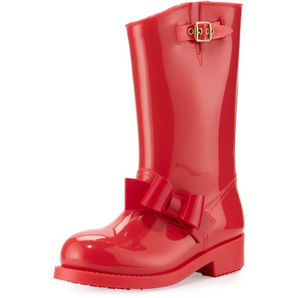 Red Valentino Bow Rubber Mid-Calf Rain Boot (165 AUD) ❤ liked on Polyvore featuring shoes, boots, slip on rubber boots, wellington boots, pull on boots, rubber boots and wellington rubber boots