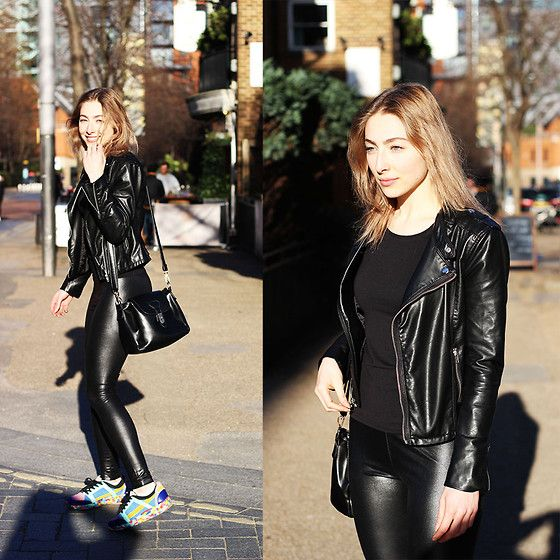 Colour Block Sneakers Chanel Inspired, Wetlook Legging, Faux Leather Jacket