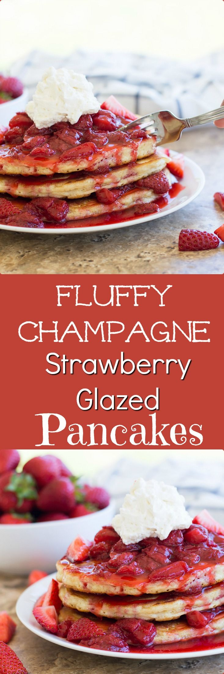 Fluffy Champagne Strawberry Glazed Pancakes