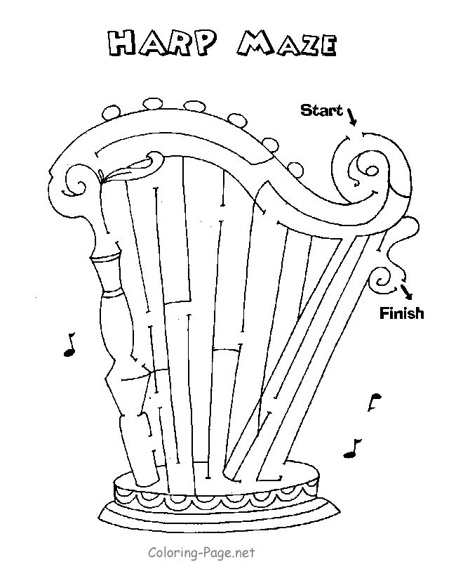 The Harp Maze Printable Mazes Worksheets And Coloring Pages For Kids