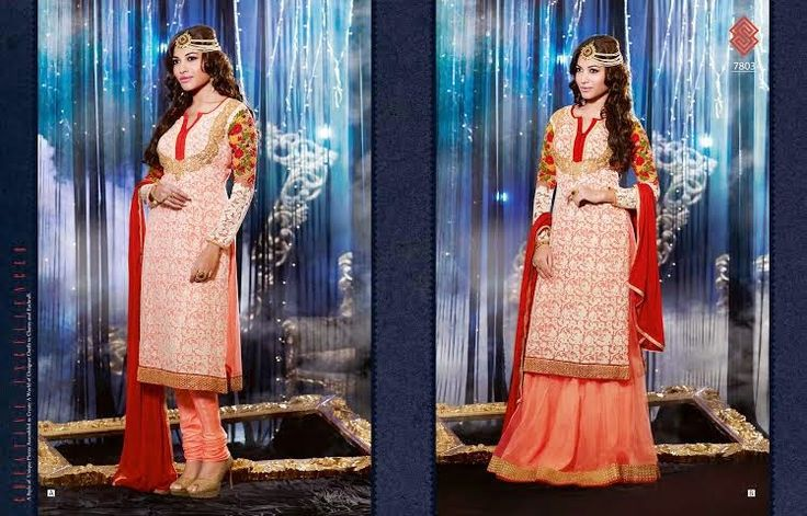 Very Beautifully Designed Georgette Floor length Peach Straight cut dress With Superb thread Embroidery and Stone work en-crafted. Comes along with Santoon Bottom and inner and Chiffon Duppatta. Lehenga Option available.