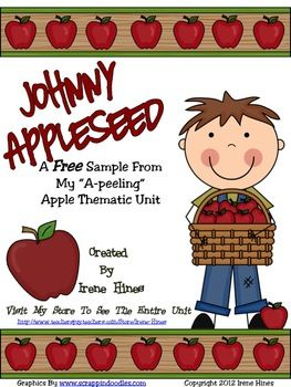 "FREEBIE!!! This is a 4 page FREE sample from my apple unit. Johnny Appleseed : An ""A-peeling"" Apple Thematic Unit or Back-To-School unit for September."