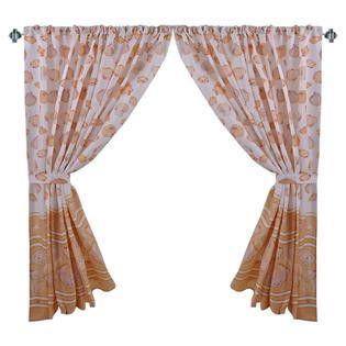 "Sea Shells Galore 34""x54"" Fabric Window Curtain with Tie-Backs, Beige"
