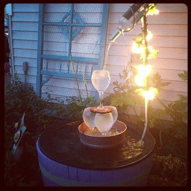DIY fountain Wine barrel and wine glasses