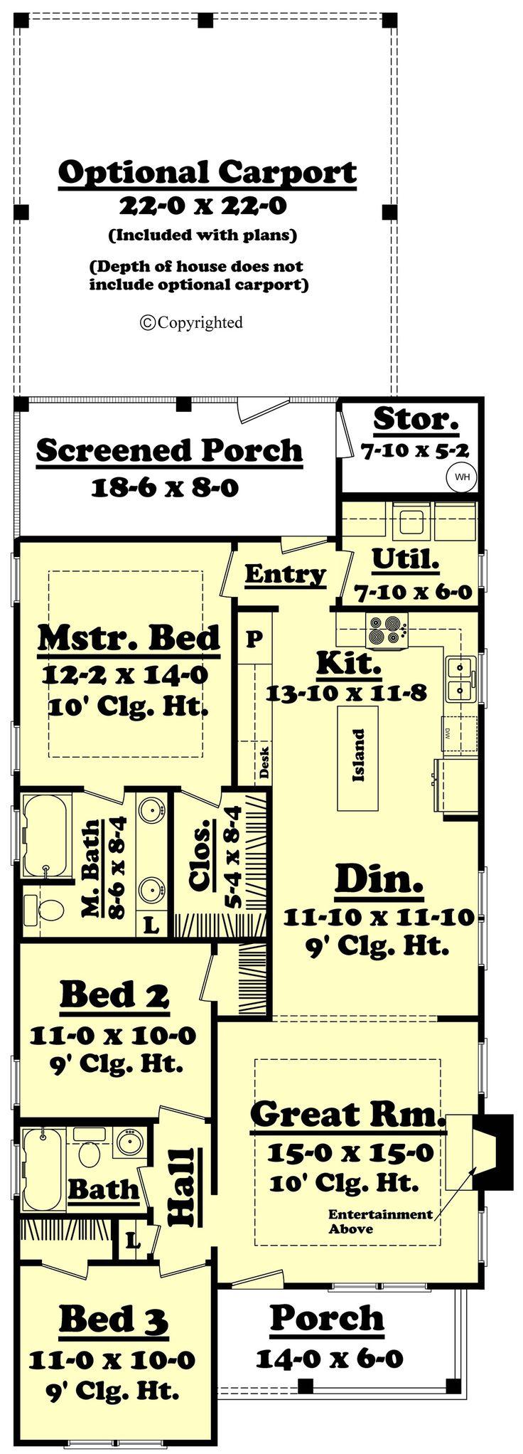 Cottage Style House Plan - 3 Beds 2 Baths 1300 Sq/Ft Plan #430-40 Floor Plan - Main Floor Plan - Houseplans.com