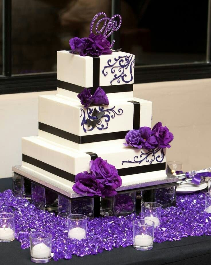 black white purple wedding reception%0A cool cake like gift box i love its coloring  Purple black and white wedding  cake