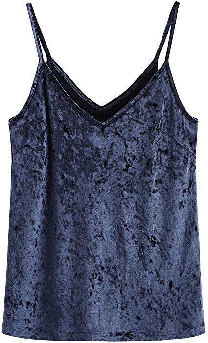 dc4f79904e SheIn Women s Casual Basic Strappy Velvet V Neck Cami Tank Top Medium  Light-Navy at Amazon Women s Clothing store