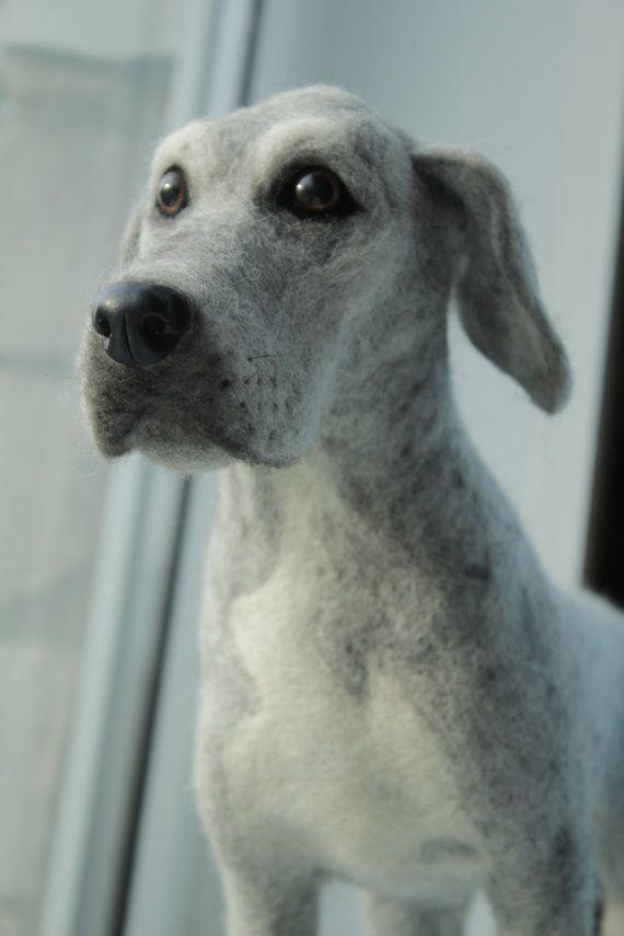 Needle Felted Great Dane Dog, custom order, pet portrait, memorial