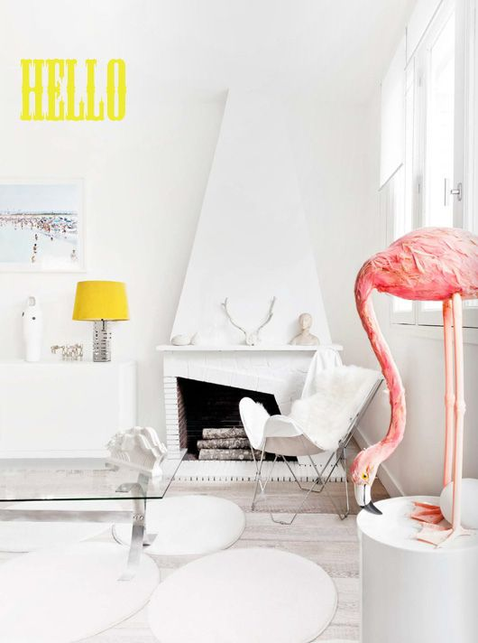 Pops of Yellow: Decor, Inspiration, Pink Flamingos, Interiors, Livingroom, Living Room, Fireplace, Design