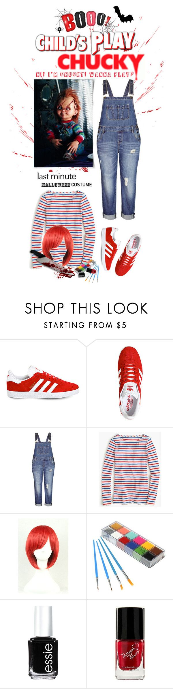 """Last-Minute Halloween Costume.. Chucky!!!!"" by shortyluv718 ❤ liked on Polyvore featuring adidas, City Chic, J.Crew, Essie and halloweencostume"
