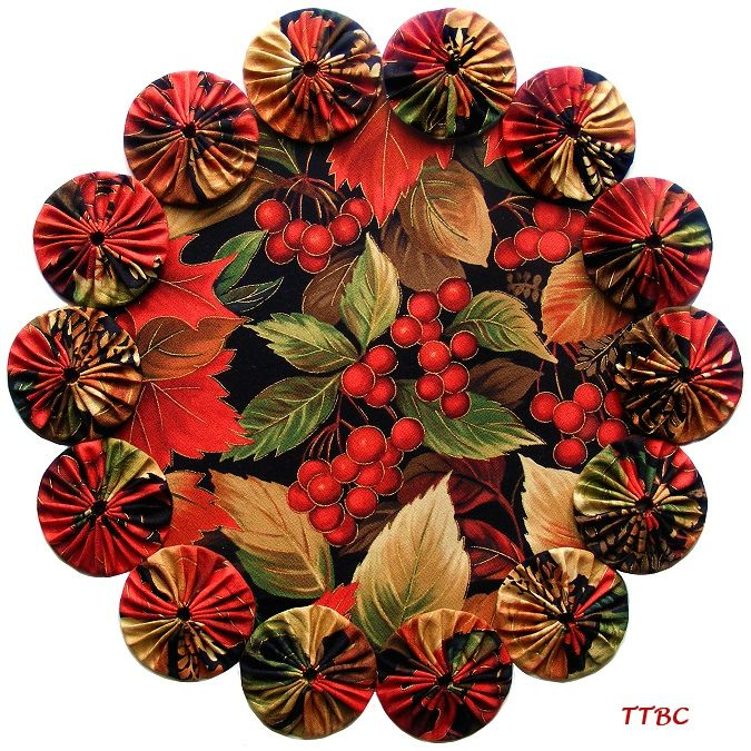 11 in. Autumn Cherry Harvest Leaves Fabric YoYo Candle Mat Centerpiece Doily ... Ebay Item 251173333966 ... $9.99