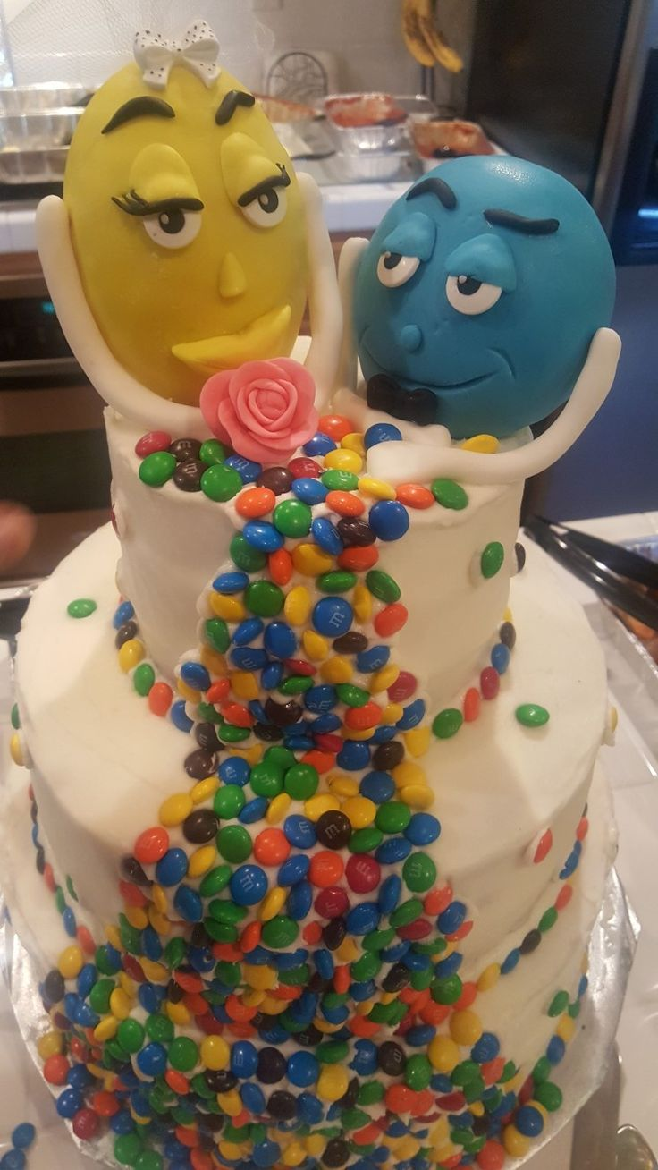 A quirky wedding cake but it so fun!