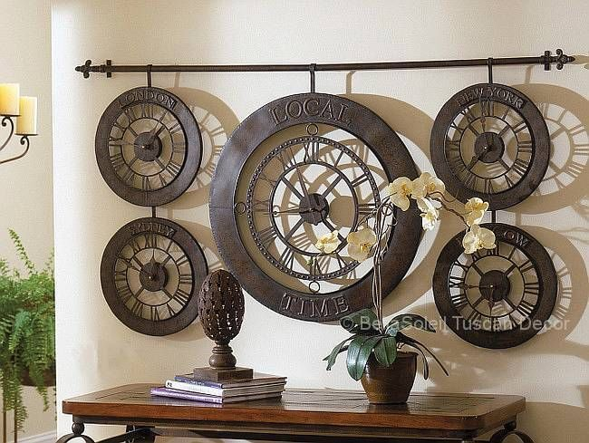 """63"""" Tuscan Old World European Style Time Zones Train Station Wall Clock #Tuscan"""