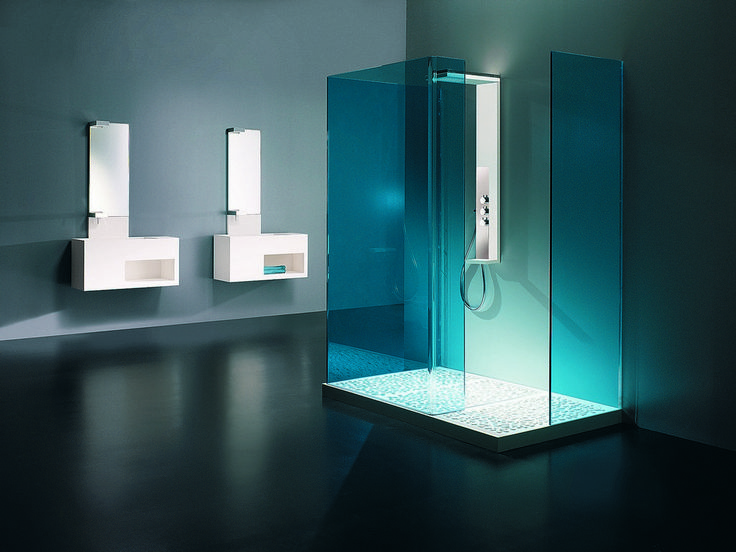 modern bathroom remodel   Awesome blue interior design modern bathroom with shower glass design ...