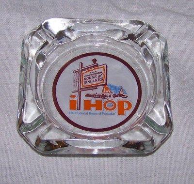 Vintage IHOP International House of Pancakes Logo Glass Ashtray 60's 70'S