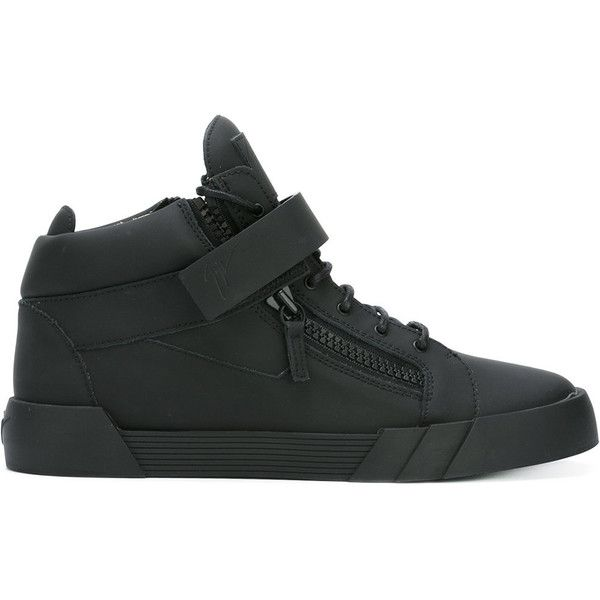 Giuseppe Zanotti Design 'The Shark 3.0' mid-top trainers (£665) ❤ liked on Polyvore featuring men's fashion, men's shoes, men's sneakers, black, mens velcro strap shoes, mens black leather shoes, mens black velcro shoes, mens leather shoes and mens black shoes