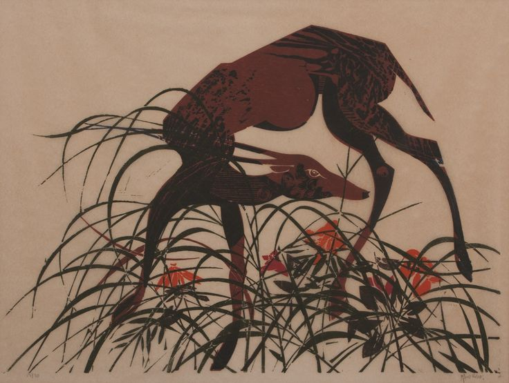 Raymond Hillary Andrews (South African 1948 - ) DEER IN TALL GRASS woodcut printed in colours; signed and numbered 13/30 in pencil in the margin; sheet size 44 by 58cm