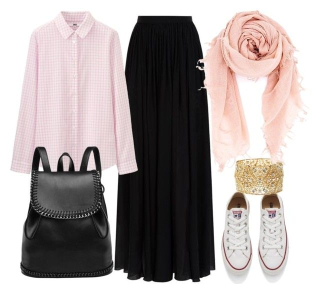 """hijab"" by azranumanovic ❤ liked on Polyvore featuring Elie Saab, Converse, Uniqlo, Charlotte Russe, Chan Luu, women's clothing, women, female, woman and misses"