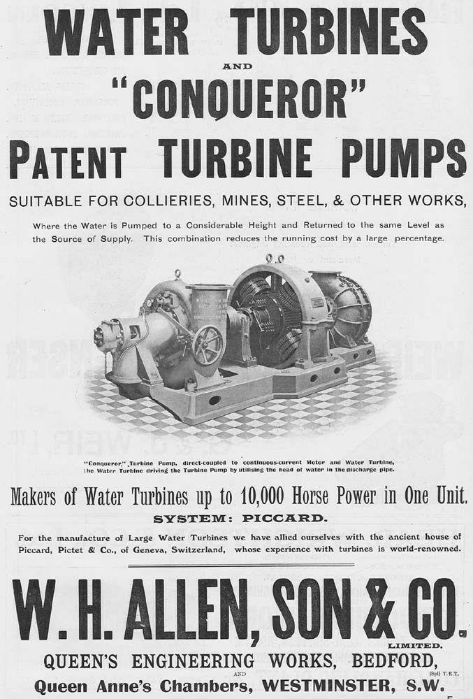 BEDFORD WH Allen & Son Water Turbine Engineers Queens