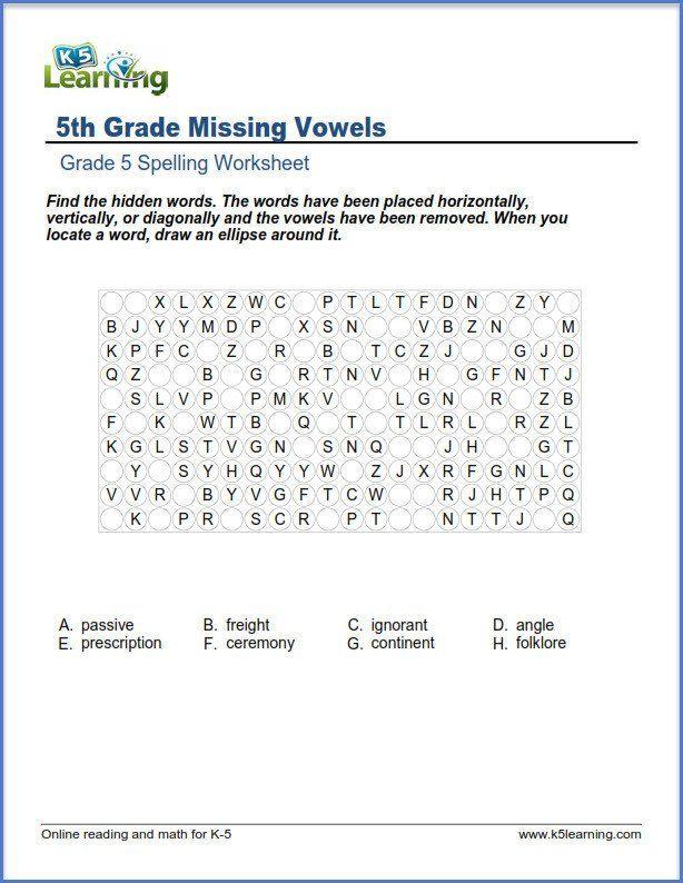 6th Grade Spelling Worksheet Fifth Grade Spelling Worksheets K5 Learning 5th Missing Spelling Worksheets Grade Spelling Algebra Worksheets