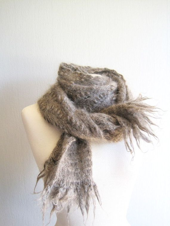 Knit Scarf Knitted Grey Gray Scarf Women's Knit by woolpleasure