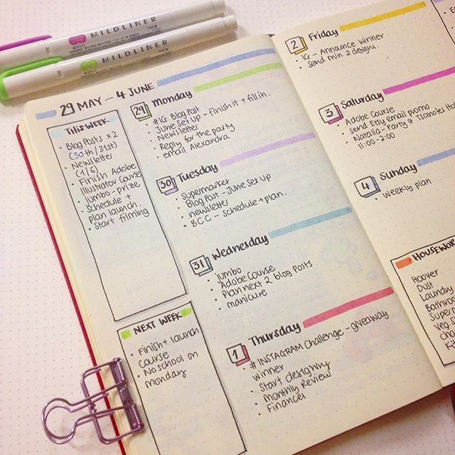 Simple yet colourful #weeklyspread once again. I'm officially ready for next #week!  • Also, since I've started my new #bulletjournal I decided to avoid using a ruler as much as possible. And even though in the beginning the #OCD part of myself was having some problems with it, I find it very liberating now!  And I've come to like my 'wobbly' lines!!! 〰