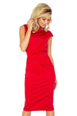 Numoco - Dámske červené elegantné šaty s krátkymi rukávmi 144-2 (2)
