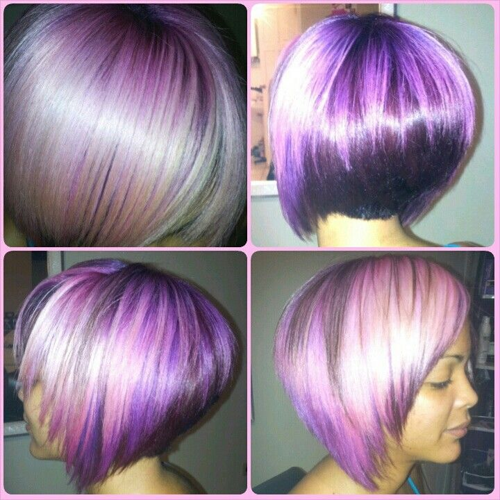 New do for her birthday.. .from virgin hair to ultra violet, purple, berry to pastel pink....why not!!