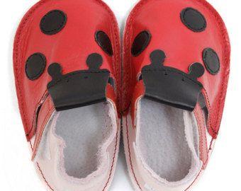 Baby Shoes Ladybug red - Handmade
