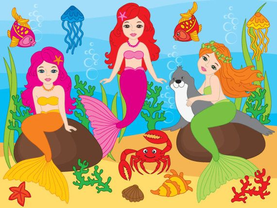 More #Mermaid #Clipart can be found here: http://etsy.me/2o1W9qaITEM:  Mermaid Clipart - #Digital Vector Girls, Mermaid, Crab, Seal, Fish, Mermaids Clip Art for Personal and C... #thecreativemill #clipart #digital #vector #mermaid #underwater