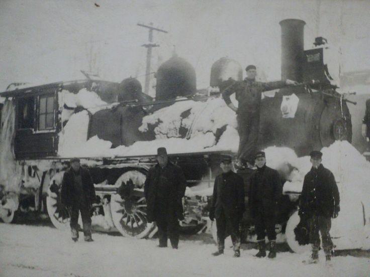 Traverse city michigan railroad train crew in winter photo