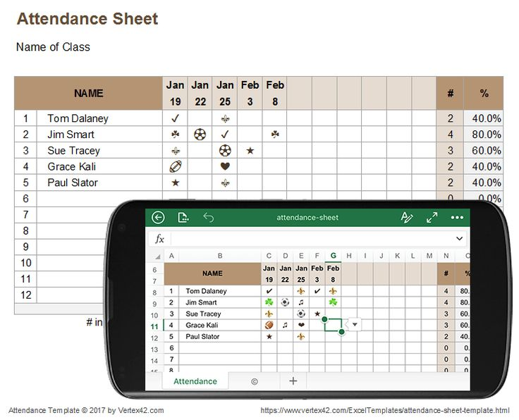 Download a free Attendance Sheet for Excel and use it on a mobile device or online. Uses fun symbols for marking attendance.