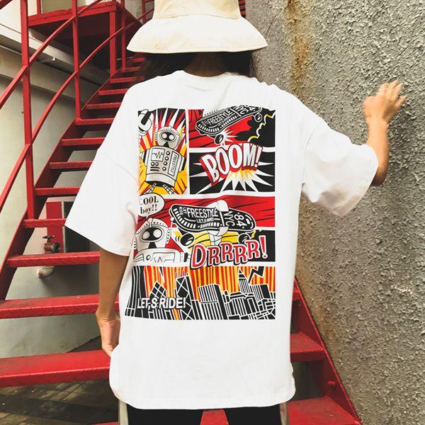 原宿系 半袖 Tシャツ ファッション レディース カラフル ダンス 衣装 派手 カワ 個性的 かわいい 奇抜 青文字系 トップス