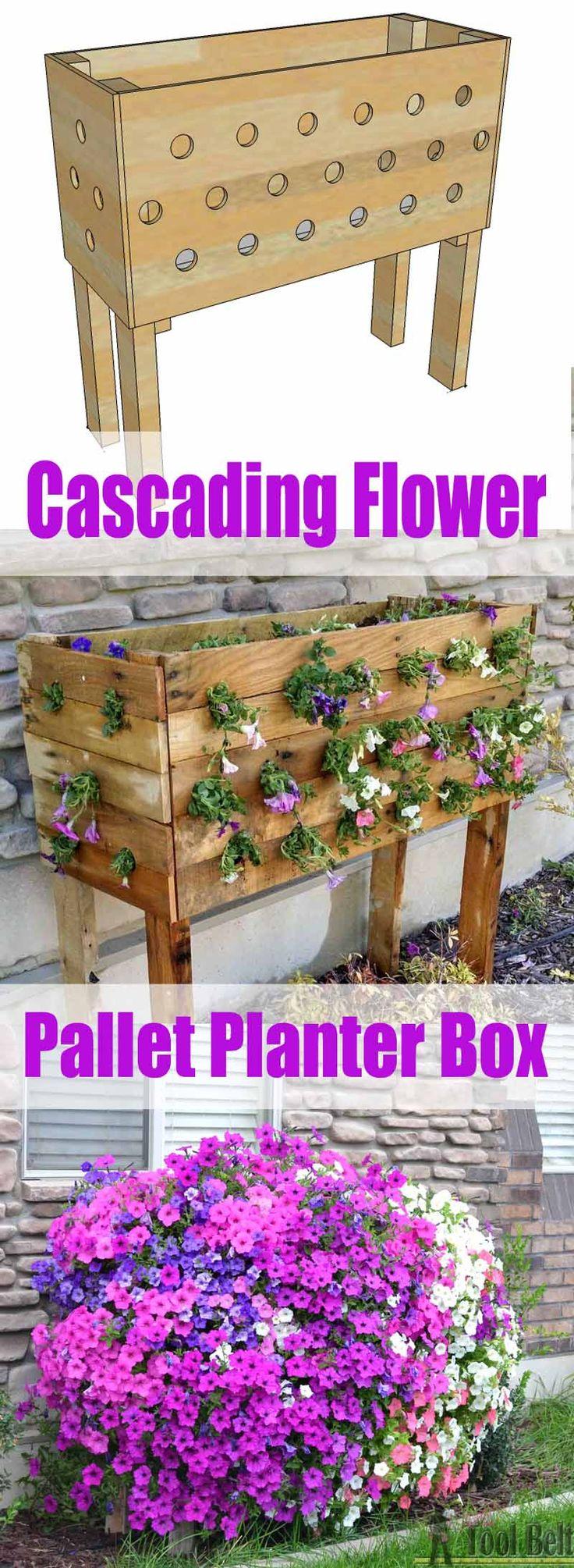 Pallet Cascading Flower Planter Box Plans and Tutorial | 19 Inspiring DIY Pallet Planter Ideas