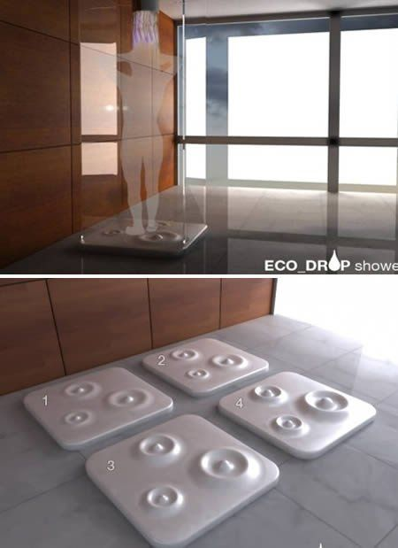 20% of our total domestic energy usage is from hot water for showering and bathing. That's over 6 times the energy usage of domestic lighting. So designer Tommaso Colia came up with his eco-friendly shower design that will force you to get out when you take too long and waste much water. The eco_drop shower features beautiful concentric circles that will rise to force you to stop showering when you take too long, and accordingly save water.