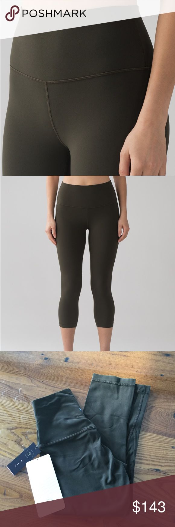 Lululemon Dark Olive Align Crops Color is hard to capture. It's closer to the stock photos but not as dark and more green. Last photo is next to Fatigue Green Aligns.   Size 2 is sold out online.  Nulu  High rise  Crop length   Lower on Ⓜ lululemon athletica Pants Leggings