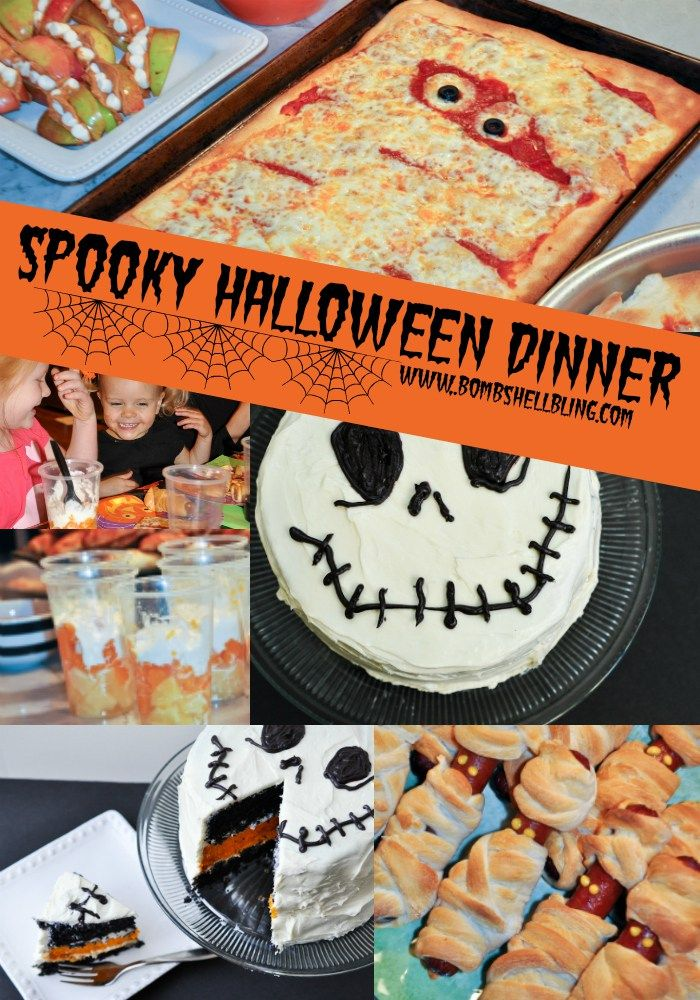 This spooky fun Halloween dinner is the perfect activity for a Halloween family of young children to enjoy with friends! Many ideas for creative and festive food to serve!