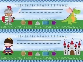 Student name plates with a fairy tale theme in 4 different designs - 2 for boys, 2 for girls