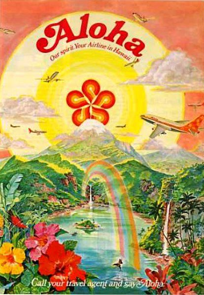USA Vintage travel poster - Hawaii - Aloha Airlines {NOTE}